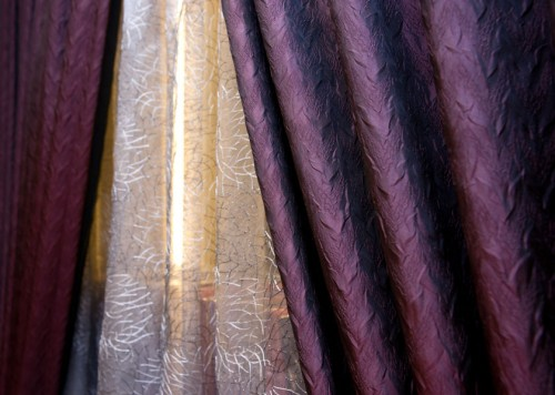 Purple Pleated Curtain